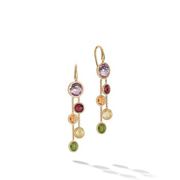 Jaipur Color Mixed Gemstones Two Strand Earrings