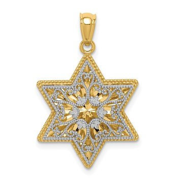 14K Two-Tone Polished Reversible Filigree Star Of David Pendant