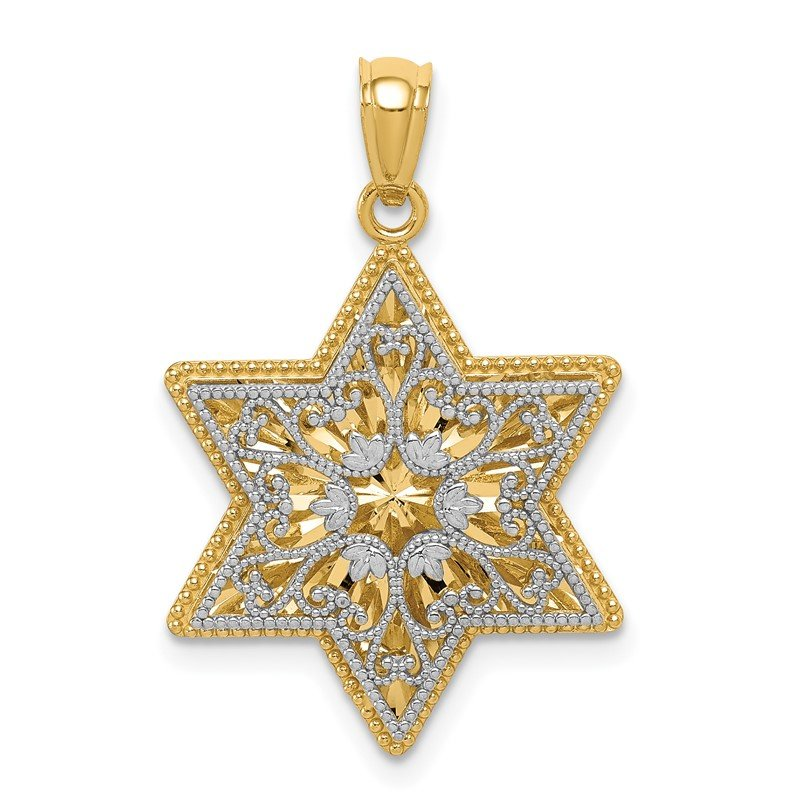 Quality Gold 14K Two-Tone Polished Reversible Filigree Star Of David Pendant