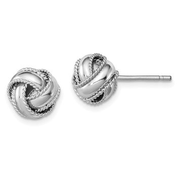 Sterling Silver Rhodium-plated Rope Edged Knot Post Earrings