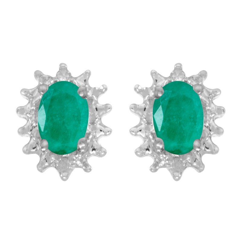 Color Merchants 14k White Gold Oval Emerald And Diamond Earrings
