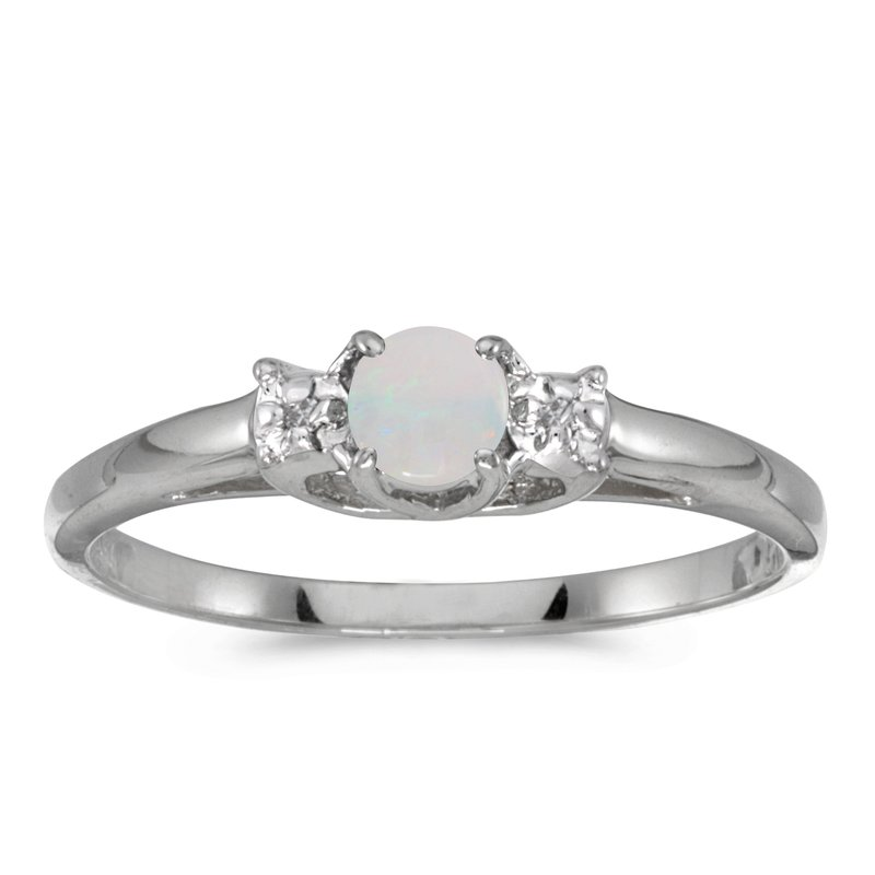 Color Merchants 10k White Gold Round Opal And Diamond Ring