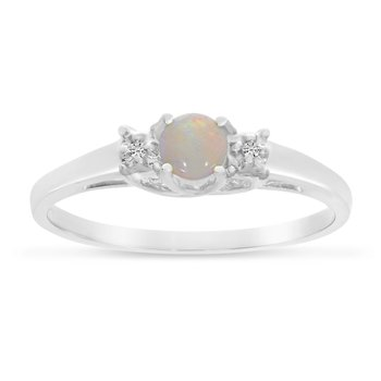 10k White Gold Round Opal And Diamond Ring