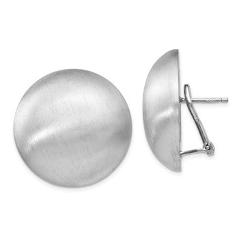 Leslie's Sterling Silver Polished Scratch-finish Omega Back Earrings