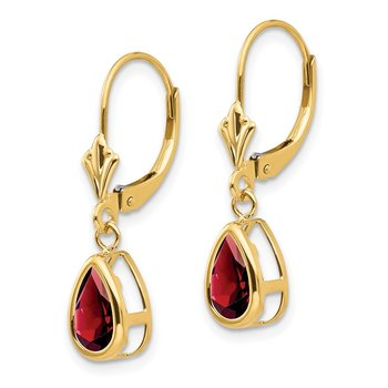 14k 8x5mm Pear Garnet Leverback Earrings