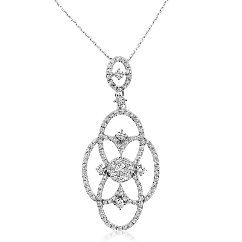 Color Merchants 14K White Gold Diamond Clustaire Fashion Pendant