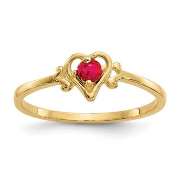 14K Ruby Birthstone Heart Ring