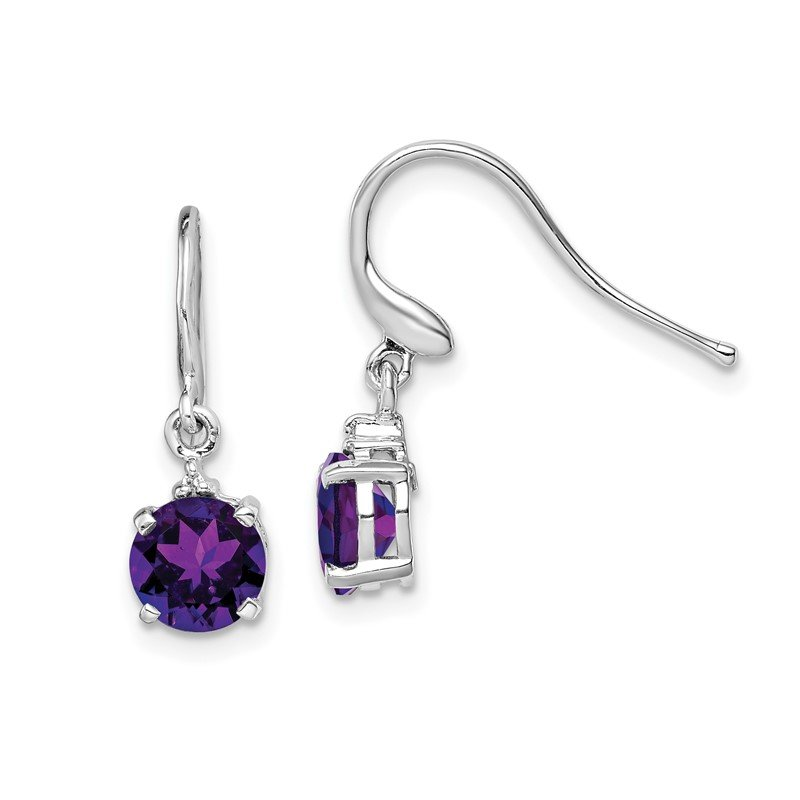 Quality Gold Sterling Silver Rhodium Round Amethyst & Diamond Wire Earrings