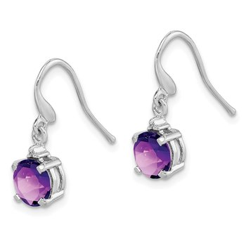 Sterling Silver Rhodium Round Amethyst & Diamond Wire Earrings