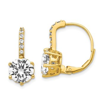 Cheryl M SS & Gold Plated CZ Leverback Earrings