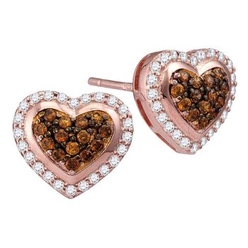 10kt Rose Gold Womens Round Cognac-brown Color Enhanced Diamond Heart Cluster Screwback Earrings 1/2 Cttw