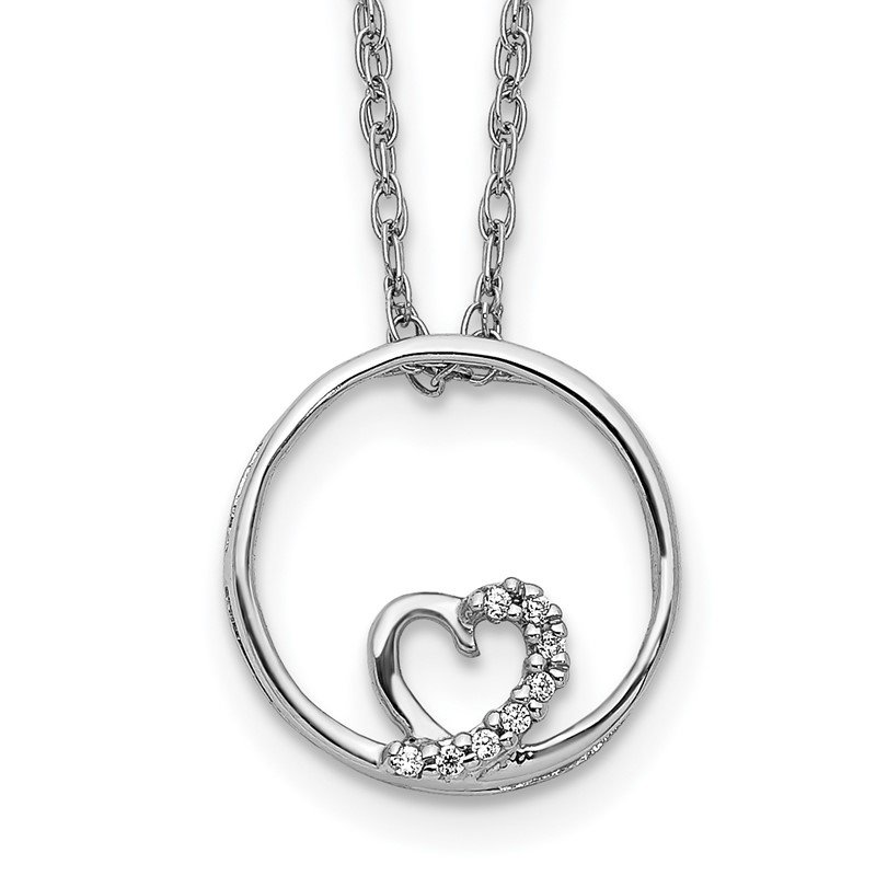 Fine Jewelry by JBD 14k White Gold Circle and Heart 18 inch Necklace