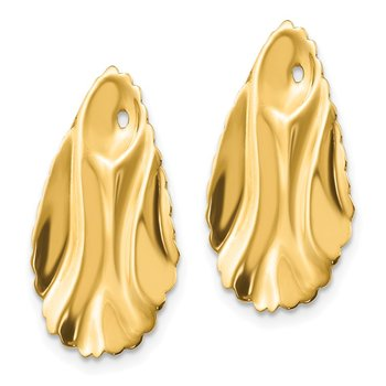 14k Polished Hammered Oval Earring Jackets