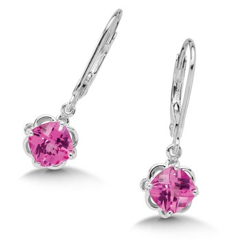 Sterling Silver Created Pink Sapphire Lever Back Hook Earrings