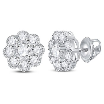 14kt White Gold Womens Round Diamond Flower Cluster Stud Earrings 1.00 Cttw