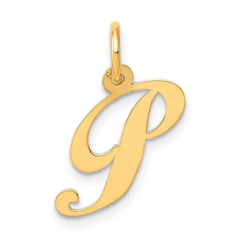 Quality Gold 14K Small Fancy Script Letter P Initial Charm