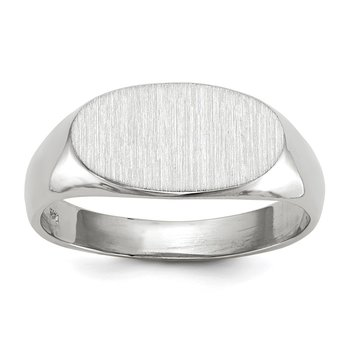 14k White Gold 7.5x13.5mm Open Back Signet Ring