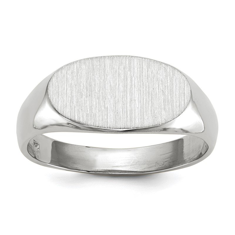 Quality Gold 14k White Gold 7.5x13.5mm Open Back Signet Ring