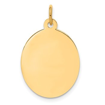 14k Plain .027 Gauge Engravable Oval Disc Charm