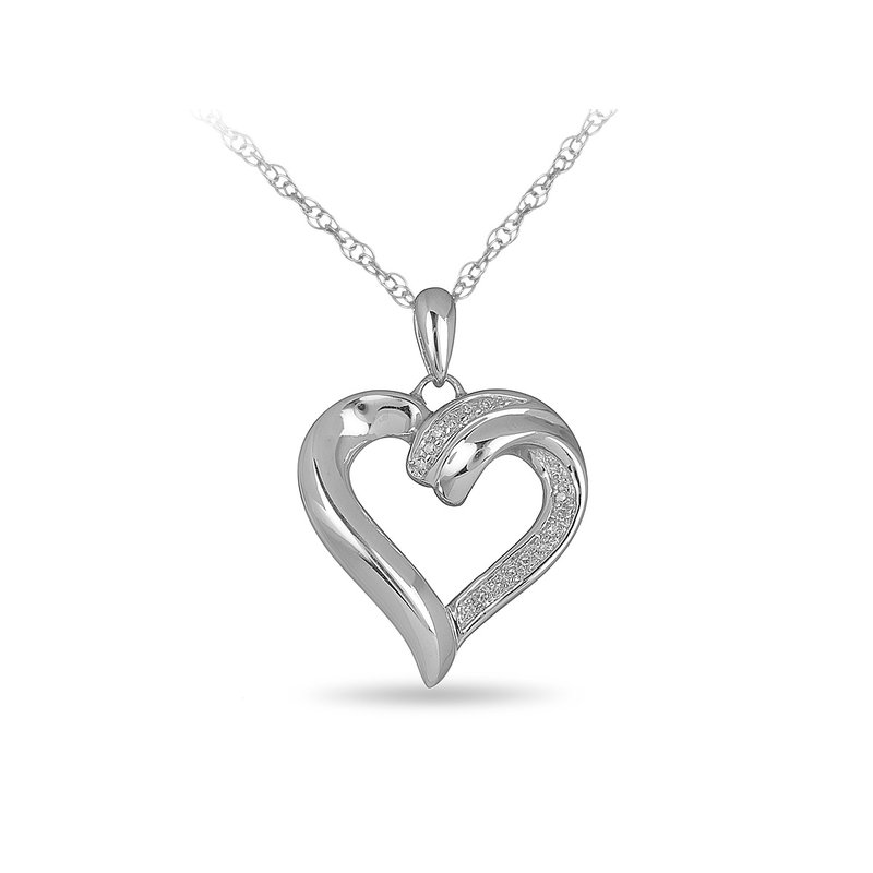 BB Impex 925 SS Diamond Heart Pendant