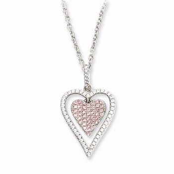 Sterling Silver Brilliant Embers Rhodium-plated CZ Heart Necklace