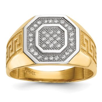 14kw/ Rhodium Mens Micro Pave CZ Octagon & Greek Key Ring