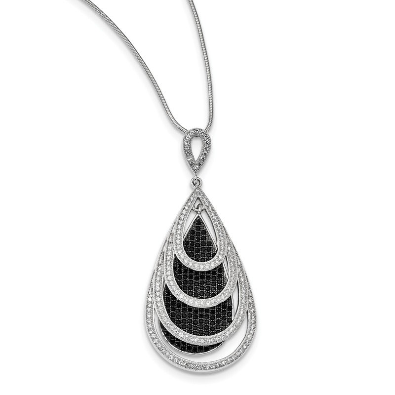 Quality Gold Sterling Silver & CZ Brilliant Embers Teardrop Necklace