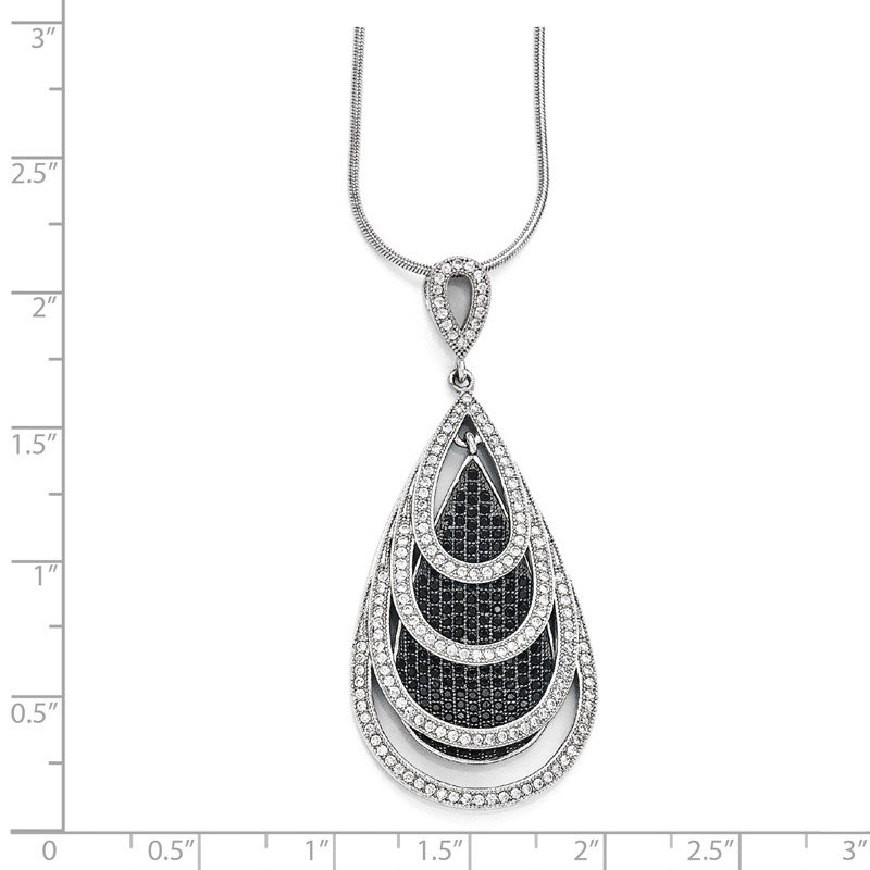 Quality Gold Sterling Silver Brilliant Embers Rhodium-plated CZ Teardrop Necklace