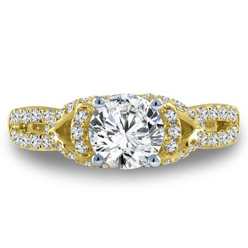 Diamond Engagement Ring Mounting in 14K Yellow Gold with Platinum Head (.49 ct. tw.)