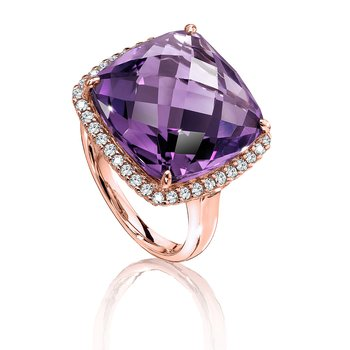 Amethyst & Diamond Statement Ring in 14K Rose Gold