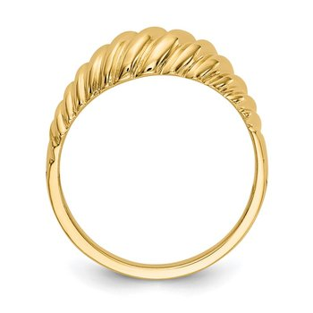 14k Polished Scalloped Dome Ring