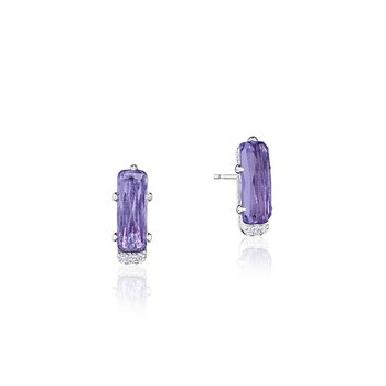Emerald-Shaped Gem Earrings with Amethyst