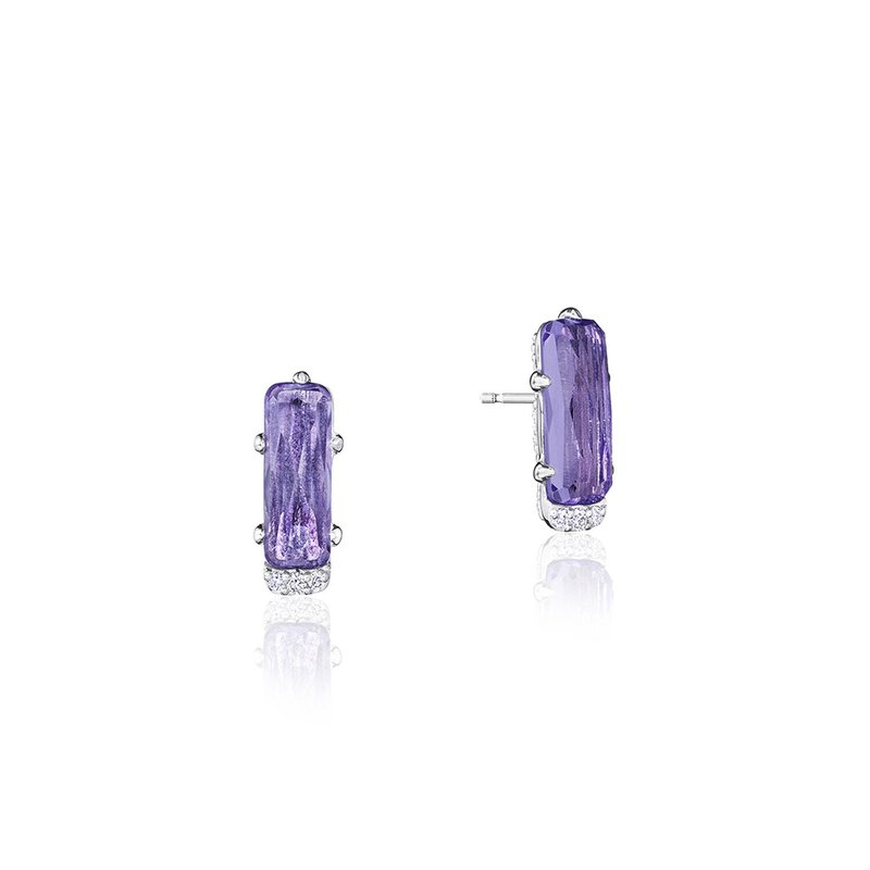 Tacori Fashion Emerald-Shaped Gem Earrings with Amethyst