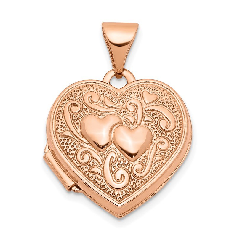 Quality Gold 14k Rose Gold 15mm Heart Locket