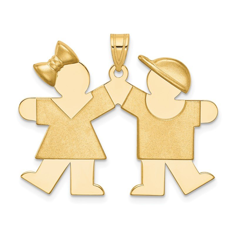 Quality Gold 14k Solid Engravable Girl on Left and Boy on Right Charm