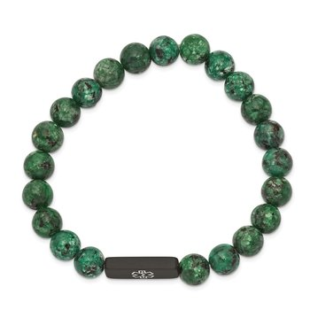 Stainless Steel Brushed Black IP Medical Dyed Green Bead Stretch Bracelet