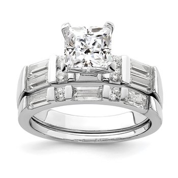 Sterling Silver Rhodium Plated CZ 2 Piece Wedding Ring Set