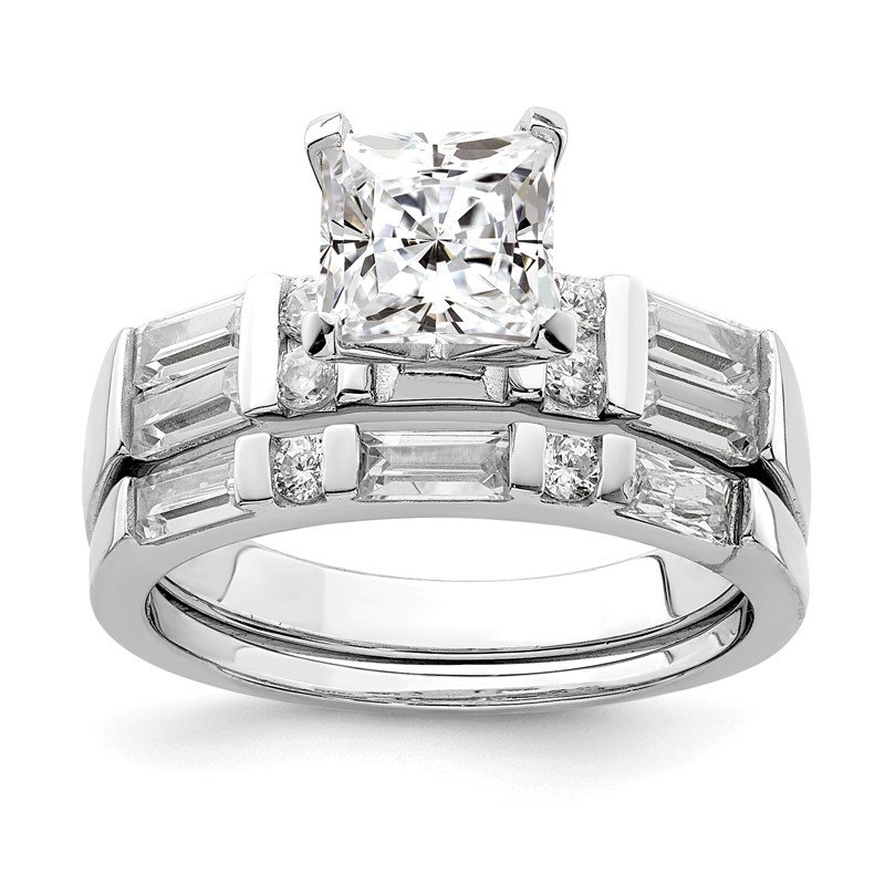 Quality Gold Sterling Silver Rhodium-plated CZ 2 Piece Wedding Ring Set