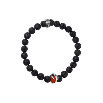 8Mm Lava Rock Bracelet With Red Coral Raven Claw