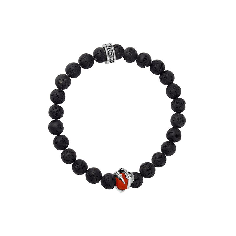 King Baby 8Mm Lava Rock Bracelet With Red Coral Raven Claw