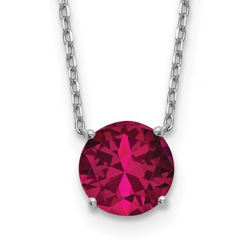 Sterling Silver RH-plated with 2 inch ext Red Swarovski Crystal Necklace