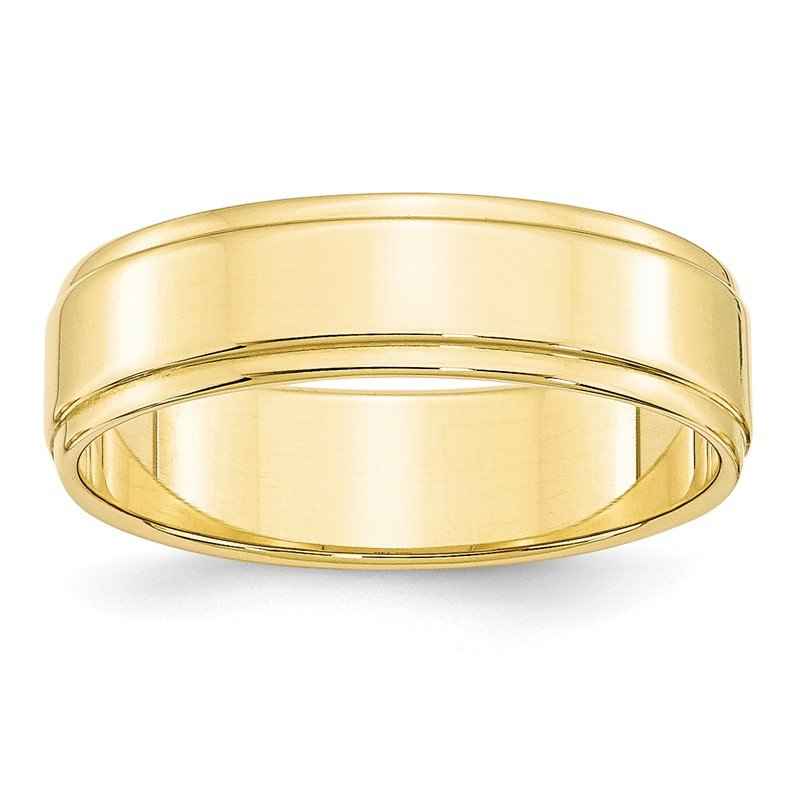 Quality Gold 10KY 6mm Flat with Step Edge Band Size 10