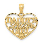Quality Gold 14k Diamond-cut DADDYS LITTLE GIRL Heart Pendant