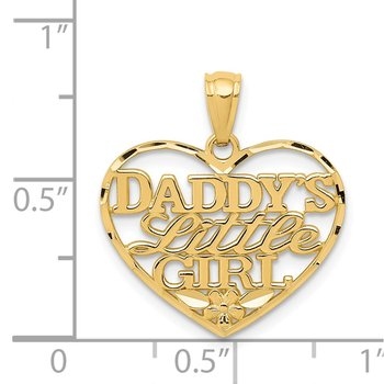 14k Diamond-cut DADDYS LITTLE GIRL Heart Pendant