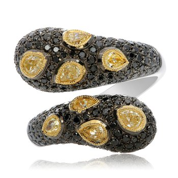 Black & Yellow Diamond Fashion Ring