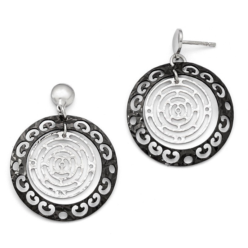 Leslie's Leslie's Sterling Silver Ruthenium-plated Polished & Textured Earrings