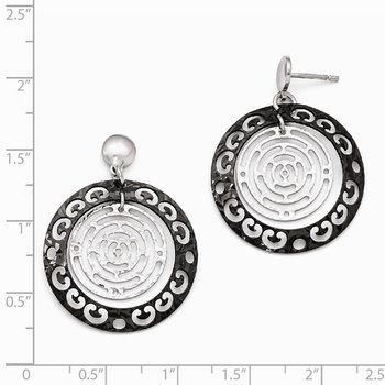 Leslie's Sterling Silver Ruthenium-plated Polished & Textured Earrings