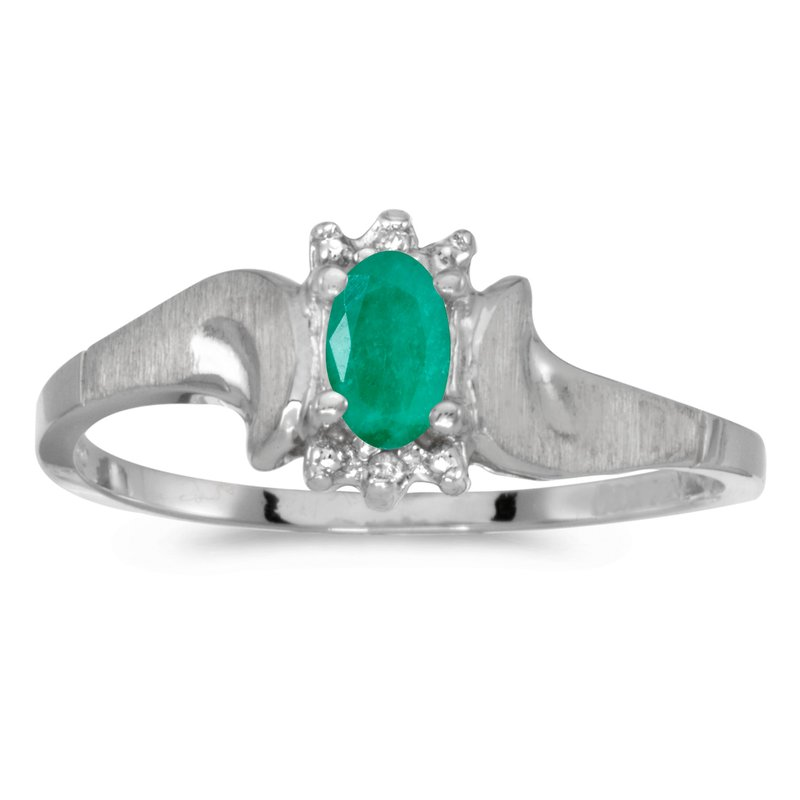 Color Merchants 14k White Gold Oval Emerald And Diamond Satin Finish Ring