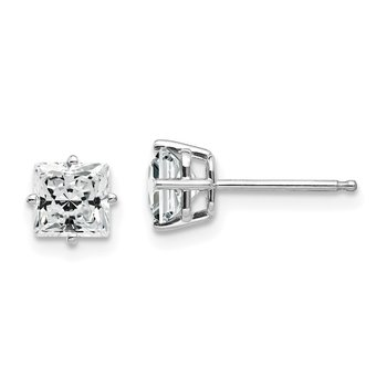 14k White Gold 5mm Cubic Zirconia Earrings