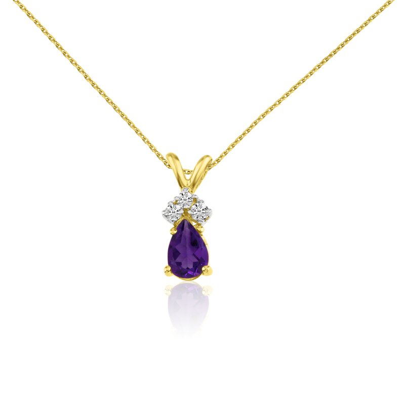 Color Merchants 14k Yellow Gold Amethyst Pear Pendant with Diamonds